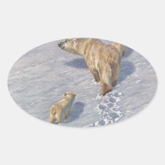 Polar bear family by Richard Friese Oval Sticker