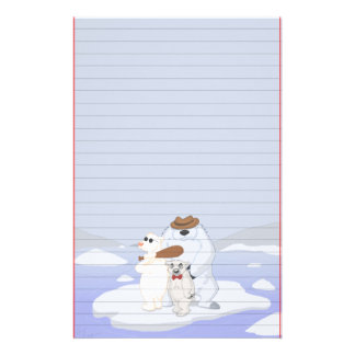 Polar Bear Gang on Ice Stationery (Ruled)