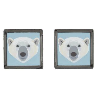 Polar Bear Gunmetal Finish Cuff Links