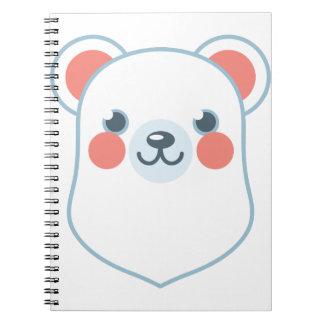 Polar Bear Head Spiral Note Book