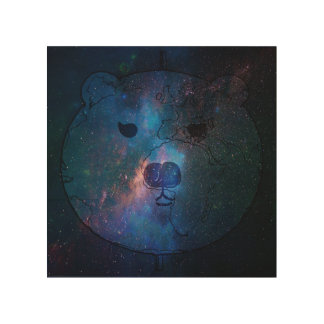 Polar Bear in Space on Wood Wood Wall Art