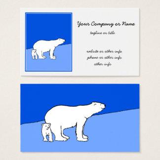 Polar Bear Mom and Cub Painting - Wildlife Art Business Card