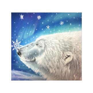 Polar Bear Snowflakes Canvas Print