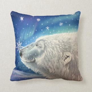 Polar Bear Snowflakes Pillow