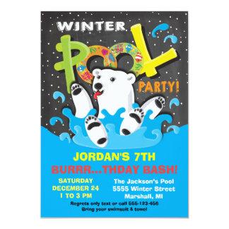 Polar Bear Winter Pool Party Plunge 13 Cm X 18 Cm Invitation Card
