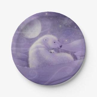 Polar Bear with Cub Wildlife Fantasy Art Paper Plate