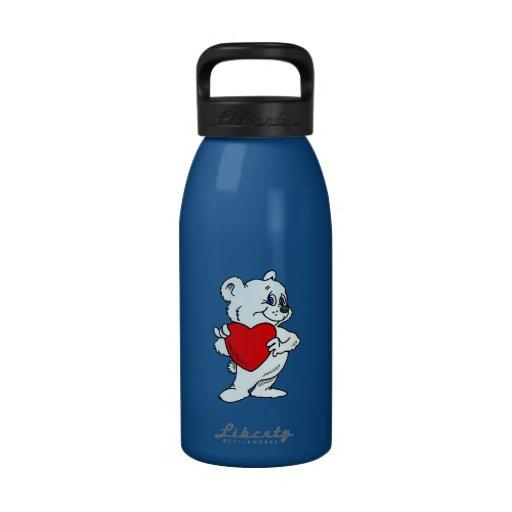 Polar Bear with Heart Reusable Water Bottles