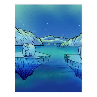 Polar Bears and Northern Lights Postcard