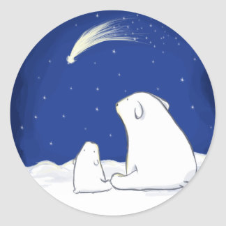 Polar Bears Classic Round Sticker