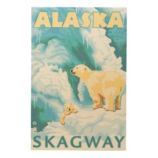 Polar Bears & Cub - Skagway, Alaska Wood Wall Decor