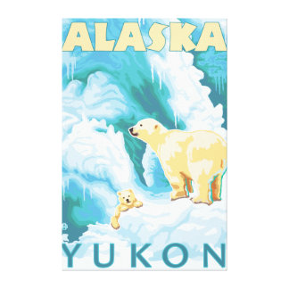 Polar Bears & Cub - Yukon, Alaska Canvas Print