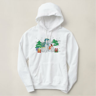 Polar bears holiday presents embroidered hoodie
