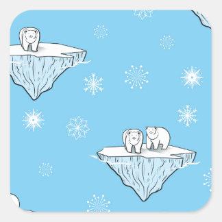 Polar bears on icebergs square sticker