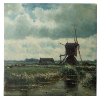 Polder landscape with windmill, Willem Roelofs Large Square Tile