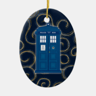 """Police Box with Swirls"" Christmas Ornament"