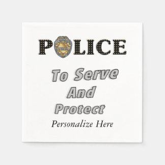 Police Protect and Serve Disposable Napkins