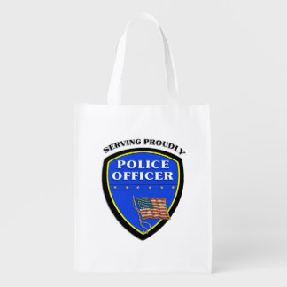 Police Serving Proudly Reusable Grocery Bag