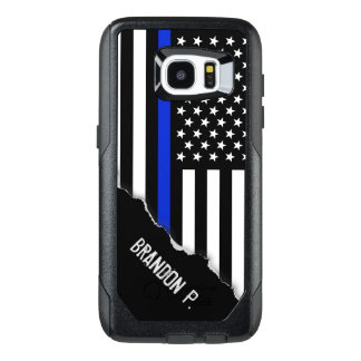 Police Styled American Flag Customised Name OtterBox Samsung Galaxy S7 Edge Case