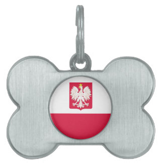 Polish Flag Coat of Arms Dog Bone Tag Pet ID Tags