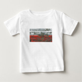 Polish Flag on Rough Wood Boards Effect Baby T-Shirt