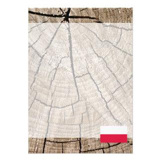 Polish flag on tree bark 13 cm x 18 cm invitation card