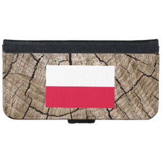 Polish flag on tree bark iPhone 6 wallet case
