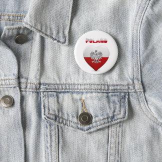 Polish heart flag 6 cm round badge