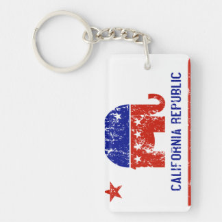 political california republic distressed Double-Sided rectangular acrylic key ring