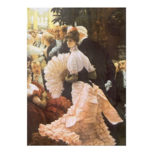 Political Lady by James Tissot, Vintage Victorian Announcements