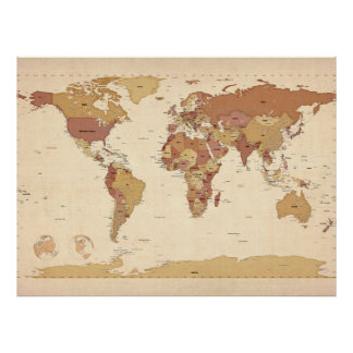 Political Map of the World Map Poster