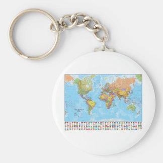 Political World Map with Flags Key Ring