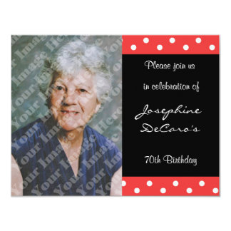 Polka Dot And Red Bubble 70th Birthday Celebration 11 Cm X 14 Cm Invitation Card