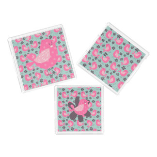 Polka Dot Birds and Flowers Acrylic Tray