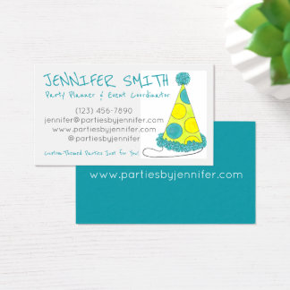 Polka Dot Birthday Party Hat Event Planner Business Card