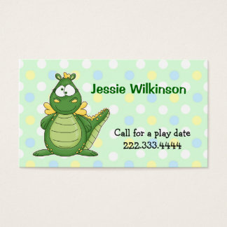 Polka Dot & Cartoon Dragon Playdate Card