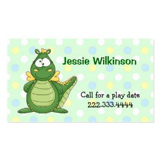 Polka Dot & Cartoon Dragon Playdate Card Business Card