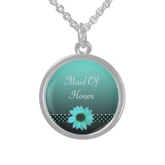 Polka Dot Daisy Teal Blue Wedding Sterling Silver Necklace