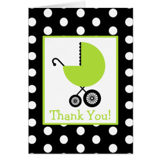 Polka Dot & Green Carriage Baby Shower Thank You Greeting Card