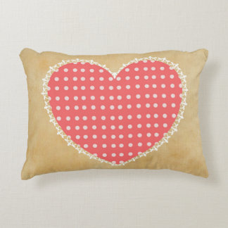 """Polka Dot Heart Polyester Accent Pillow 16"""" x 12"""" Accent Cushion"""