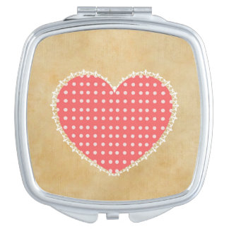 Polka Dot Heart Square Compact Mirror