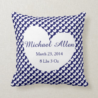 Polka Dot Hearts Personalise w Baby's Info (navy) Throw Pillow