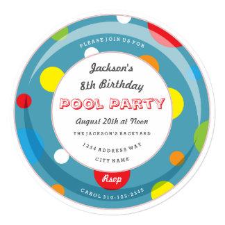 Polka Dot Inner Tube Pool Party Invitation