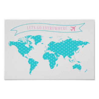 Polka dot map - lets go everywhere poster