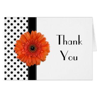 Polka Dot Orange Daisy Wedding Shower Thank You Note Card