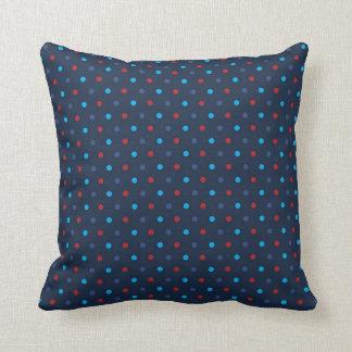 Polka Dot Pillow - Blue & Red Throw Cushion