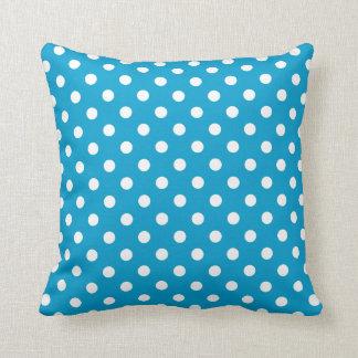 Polka Dot Pillows in Hawaiian Ocean Blue Throw Cushion