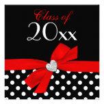 Polka Dot Red Black Bow Heart Graduation Party Invites