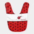 Polka Dots and Ladybug Custom Baby Bib