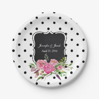 Polka Dots and Peonies Wedding Paper Plate 7 Inch Paper Plate
