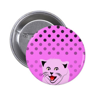 Polka dots_cats_pink_patterns_design pinback buttons